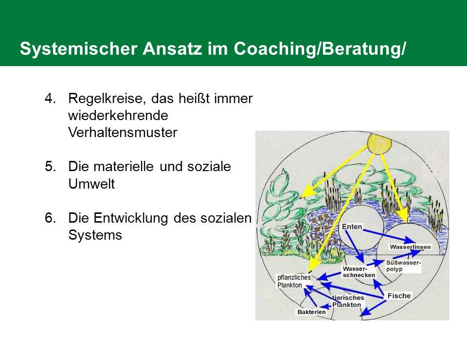 Systemischer Ansatz im Coaching/Beratung/ 4.Regelkreise, das heißt immer wiederkehrende Verhaltensmuster 5.Die materielle und soziale Umwelt 6.Die Ent