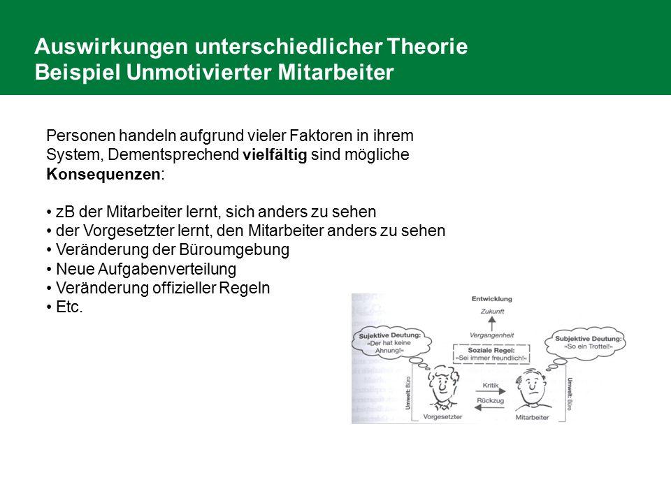 Auswirkungen unterschiedlicher Theorie Beispiel Unmotivierter Mitarbeiter Personen handeln aufgrund vieler Faktoren in ihrem System, Dementsprechend v