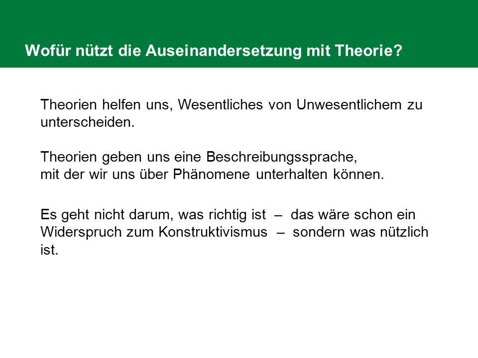 Wofür nützt die Auseinandersetzung mit Theorie? Theorien helfen uns, Wesentliches von Unwesentlichem zu unterscheiden. Theorien geben uns eine Beschre