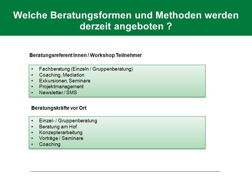Welche Beratungsformen und Methoden werden derzeit angeboten ? Fachberatung (Einzeln / Gruppenberatung) Coaching, Mediation Exkursionen, Seminare Proj