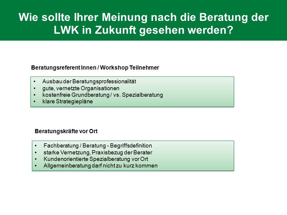 Wie sollte Ihrer Meinung nach die Beratung der LWK in Zukunft gesehen werden? Ausbau der Beratungsprofessionalität gute, vernetzte Organisationen kost