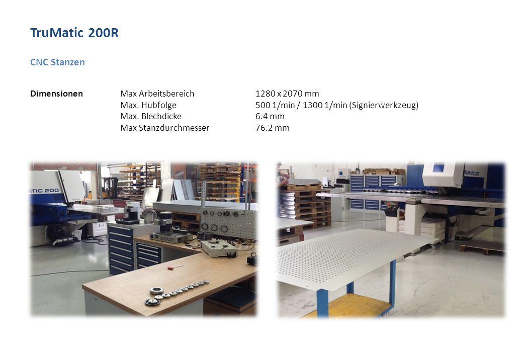TruMatic 200R CNC Stanzen Dimensionen Max Arbeitsbereich1280 x 2070 mm Max.