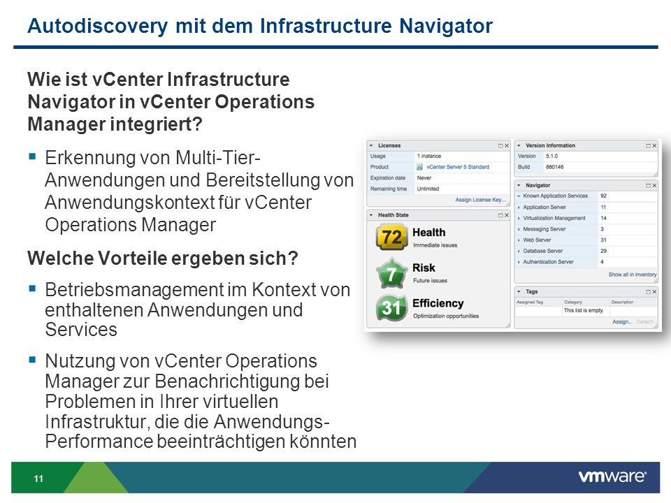 11 Autodiscovery mit dem Infrastructure Navigator Wie ist vCenter Infrastructure Navigator in vCenter Operations Manager integriert.