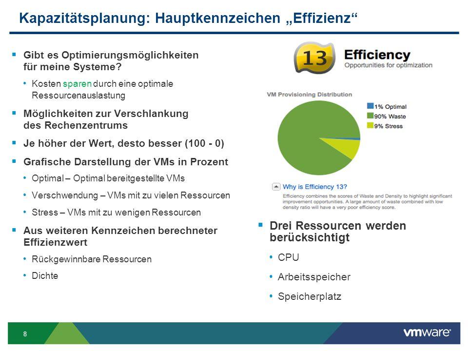 """8 Kapazitätsplanung: Hauptkennzeichen """"Effizienz  Gibt es Optimierungsmöglichkeiten für meine Systeme."""