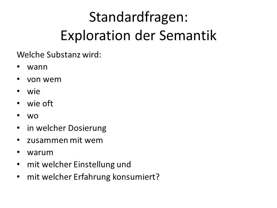 Standardfragen: Exploration der Semantik Welche Substanz wird: wann von wem wie wie oft wo in welcher Dosierung zusammen mit wem warum mit welcher Einstellung und mit welcher Erfahrung konsumiert