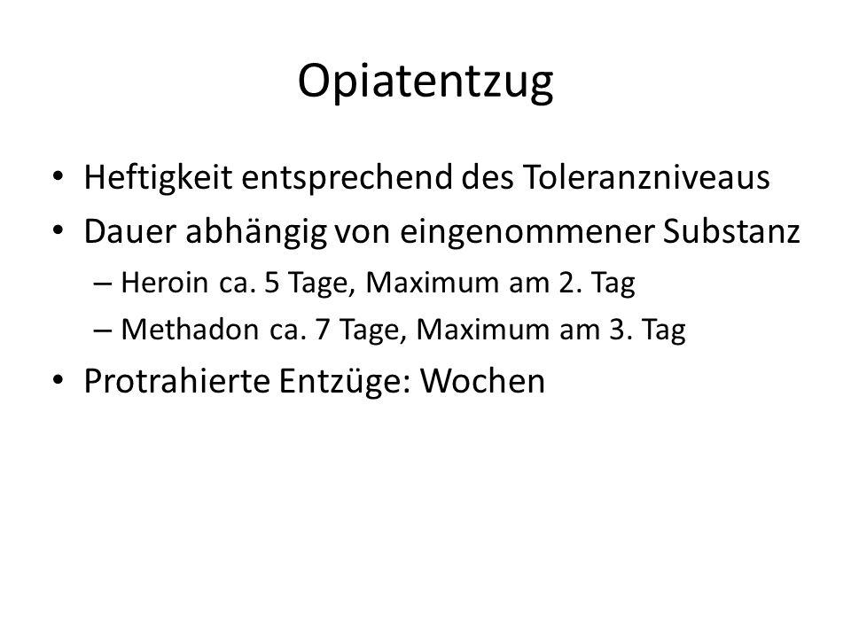 Opiatentzug Heftigkeit entsprechend des Toleranzniveaus Dauer abhängig von eingenommener Substanz – Heroin ca. 5 Tage, Maximum am 2. Tag – Methadon ca