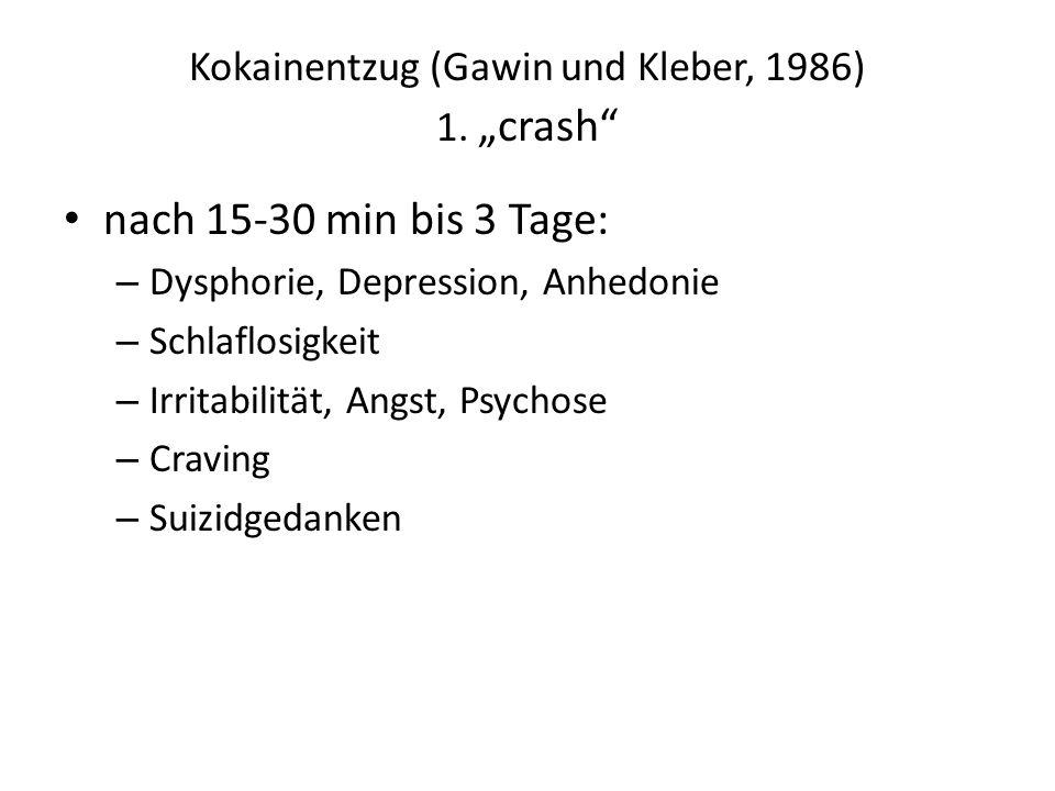 """Kokainentzug (Gawin und Kleber, 1986) 1. """"crash"""" nach 15-30 min bis 3 Tage: – Dysphorie, Depression, Anhedonie – Schlaflosigkeit – Irritabilität, Angs"""