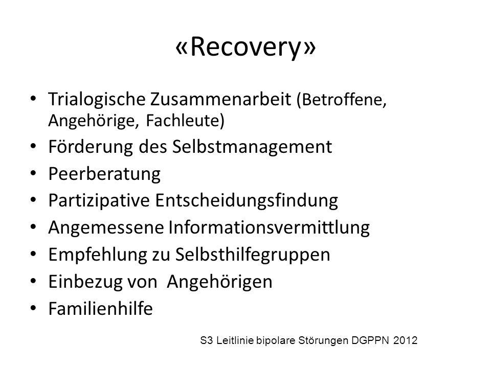 «Recovery» Trialogische Zusammenarbeit (Betroffene, Angehörige, Fachleute) Förderung des Selbstmanagement Peerberatung Partizipative Entscheidungsfind