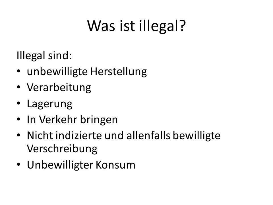 Was ist illegal? Illegal sind: unbewilligte Herstellung Verarbeitung Lagerung In Verkehr bringen Nicht indizierte und allenfalls bewilligte Verschreib