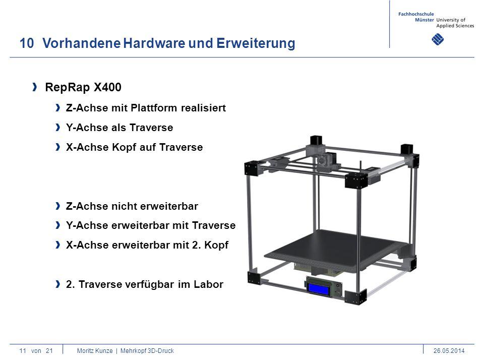 10Vorhandene Hardware und Erweiterung 11von 21 Moritz Kunze | Mehrkopf 3D-Druck26.05.2014 RepRap X400 Z-Achse mit Plattform realisiert Y-Achse als Traverse X-Achse Kopf auf Traverse Z-Achse nicht erweiterbar Y-Achse erweiterbar mit Traverse X-Achse erweiterbar mit 2.