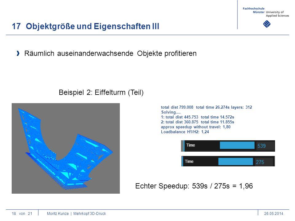 17Objektgröße und Eigenschaften III 18von 21 Moritz Kunze | Mehrkopf 3D-Druck26.05.2014 Räumlich auseinanderwachsende Objekte profitieren Beispiel 2: Eiffelturm (Teil) total dist 799.008 total time 26.274s layers: 312 Solving....
