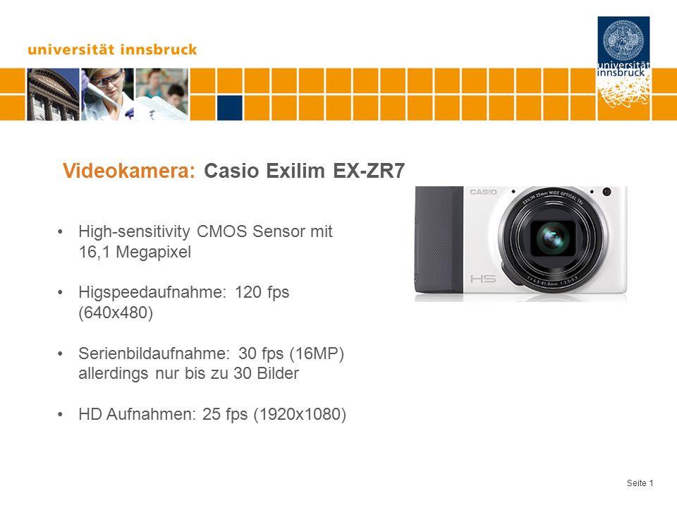 Seite 1 Videokamera: Casio Exilim EX-ZR7 High-sensitivity CMOS Sensor mit 16,1 Megapixel Higspeedaufnahme: 120 fps (640x480) Serienbildaufnahme: 30 fps (16MP) allerdings nur bis zu 30 Bilder HD Aufnahmen: 25 fps (1920x1080)