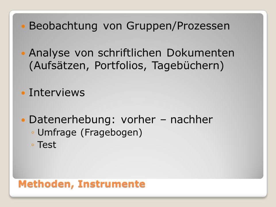 Methoden, Instrumente Beobachtung von Gruppen/Prozessen Analyse von schriftlichen Dokumenten (Aufsätzen, Portfolios, Tagebüchern) Interviews Datenerhebung: vorher – nachher ◦Umfrage (Fragebogen) ◦Test