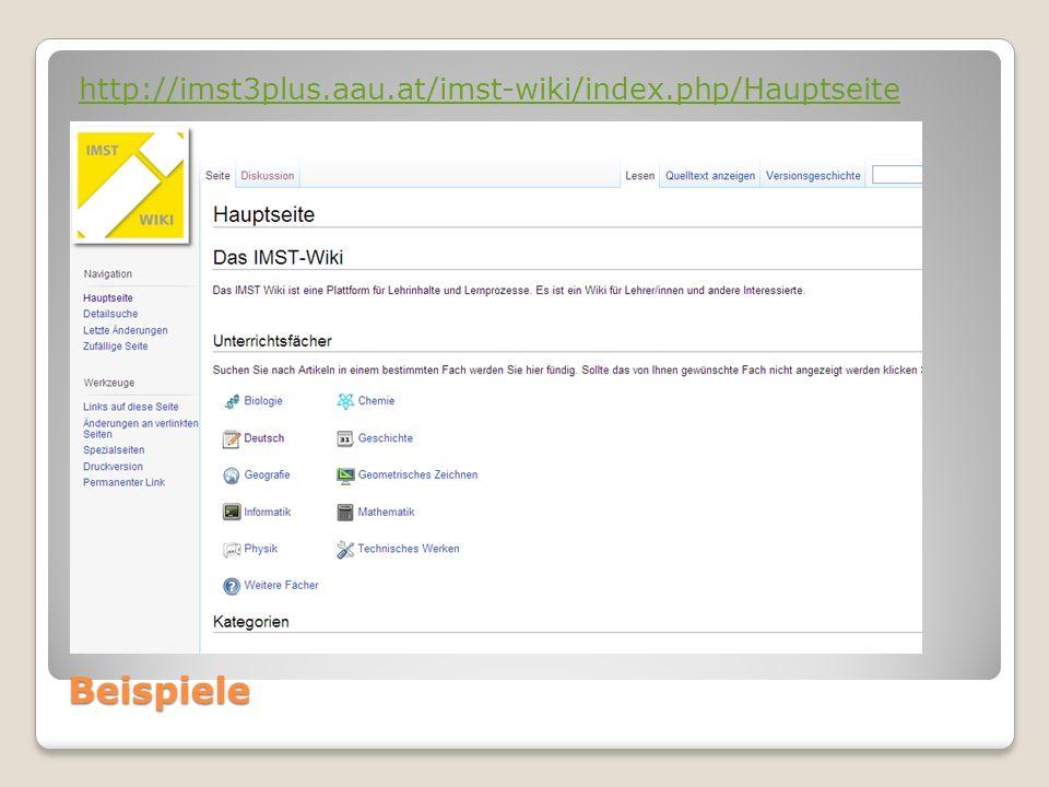 Beispiele http://imst3plus.aau.at/imst-wiki/index.php/Hauptseite