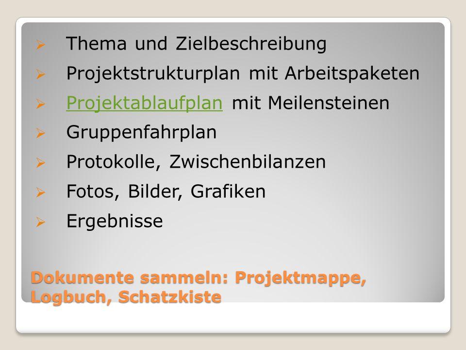 Dokumente sammeln: Projektmappe, Logbuch, Schatzkiste  Thema und Zielbeschreibung  Projektstrukturplan mit Arbeitspaketen  Projektablaufplan mit Meilensteinen Projektablaufplan  Gruppenfahrplan  Protokolle, Zwischenbilanzen  Fotos, Bilder, Grafiken  Ergebnisse