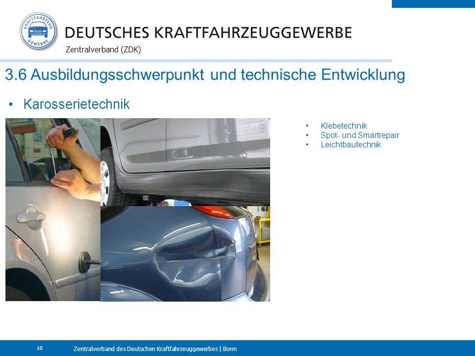 Zentralverband des Deutschen Kraftfahrzeuggewerbes | Bonn Zentralverband (ZDK) 10 3.6 Ausbildungsschwerpunkt und technische Entwicklung Karosserietechnik Klebetechnik Spot- und Smartrepair Leichtbautechnik