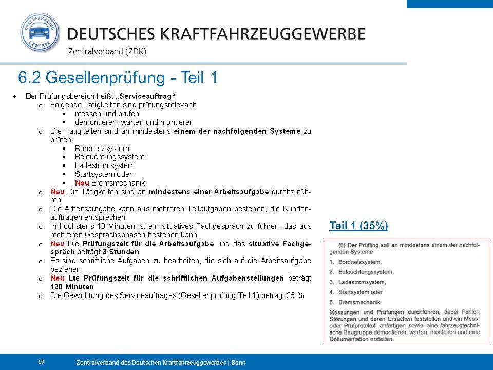 Zentralverband des Deutschen Kraftfahrzeuggewerbes | Bonn Zentralverband (ZDK) 19 6.2 Gesellenprüfung - Teil 1 Teil 1 (35%)