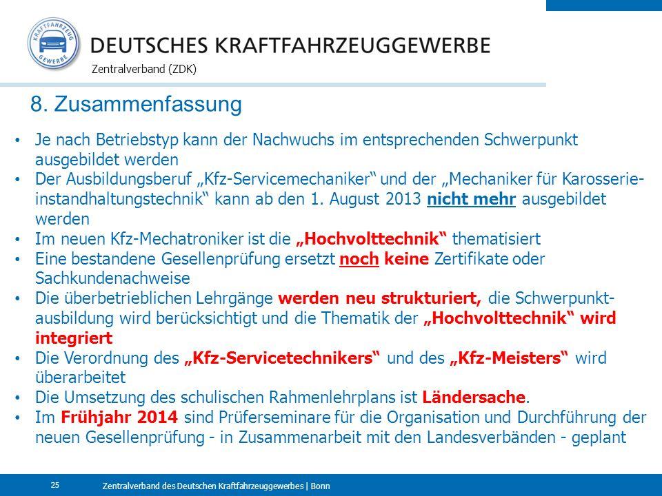Zentralverband des Deutschen Kraftfahrzeuggewerbes | Bonn Zentralverband (ZDK) 25 8. Zusammenfassung Je nach Betriebstyp kann der Nachwuchs im entspre