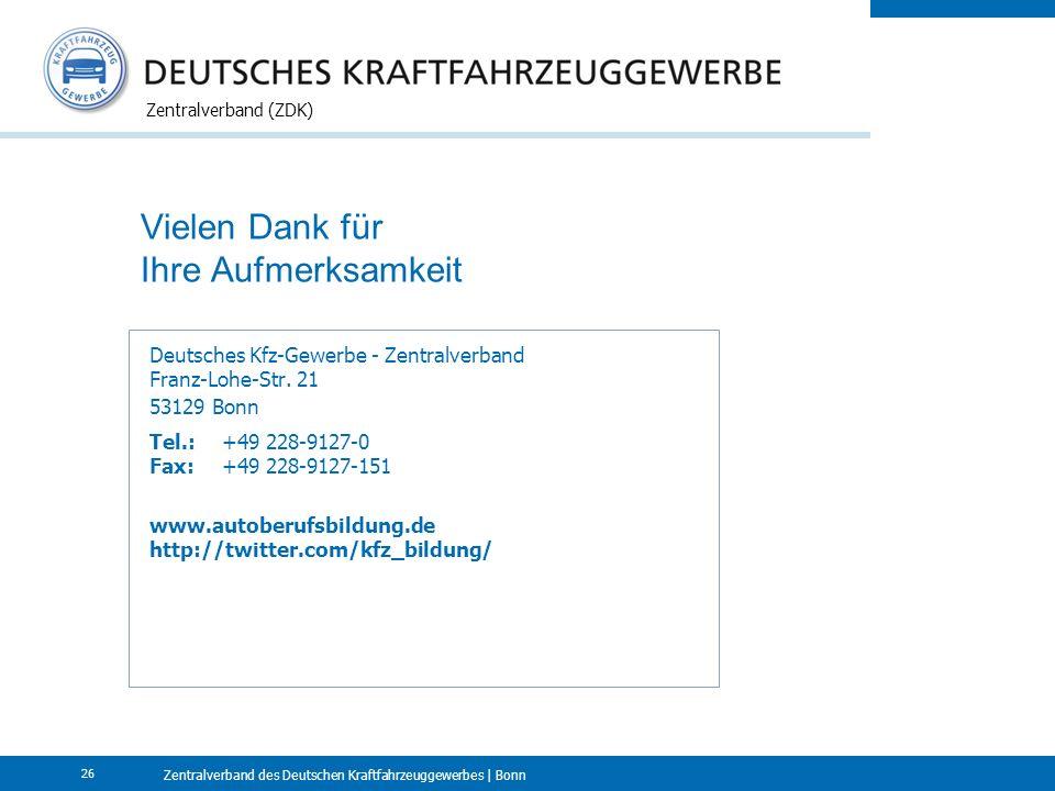 Zentralverband des Deutschen Kraftfahrzeuggewerbes | Bonn Zentralverband (ZDK) 26 Vielen Dank für Ihre Aufmerksamkeit Deutsches Kfz-Gewerbe - Zentralverband Franz-Lohe-Str.