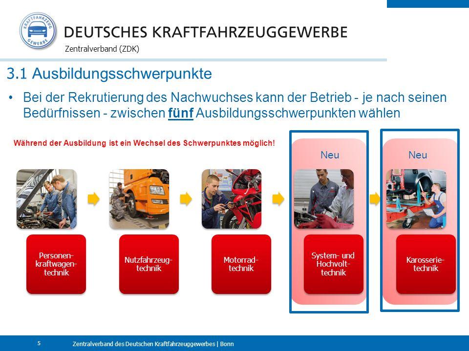 Zentralverband des Deutschen Kraftfahrzeuggewerbes | Bonn Zentralverband (ZDK) 5 3.1 Ausbildungsschwerpunkte Personen- kraftwagen- technik Nutzfahrzeug- technik Motorrad- technik System- und Hochvolt- technik Karosserie- technik Neu Bei der Rekrutierung des Nachwuchses kann der Betrieb - je nach seinen Bedürfnissen - zwischen fünf Ausbildungsschwerpunkten wählen Während der Ausbildung ist ein Wechsel des Schwerpunktes möglich!