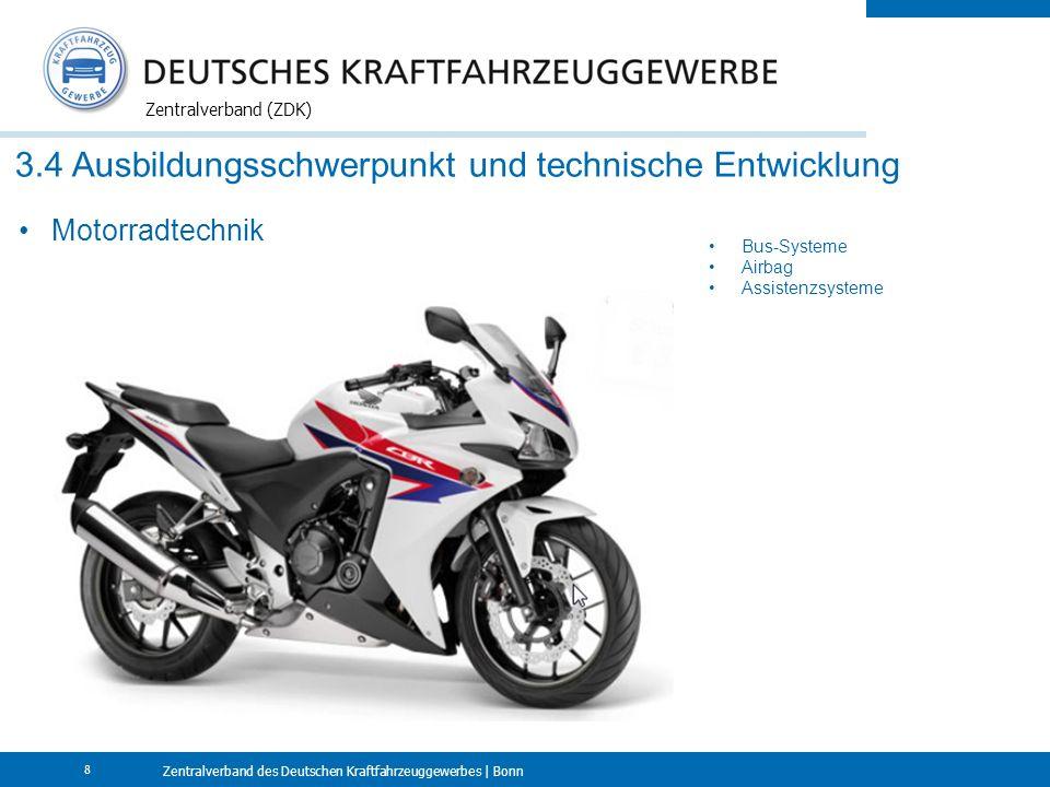 Zentralverband des Deutschen Kraftfahrzeuggewerbes | Bonn Zentralverband (ZDK) 8 3.4 Ausbildungsschwerpunkt und technische Entwicklung Motorradtechnik Bus-Systeme Airbag Assistenzsysteme