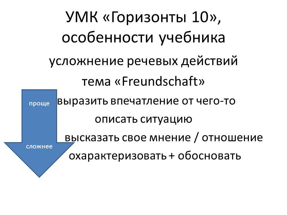 УМК «Горизонты 10», особенности учебника усложнение речевых действий тема «Freundschaft» выразить впечатление от чего-то описать ситуацию высказать св