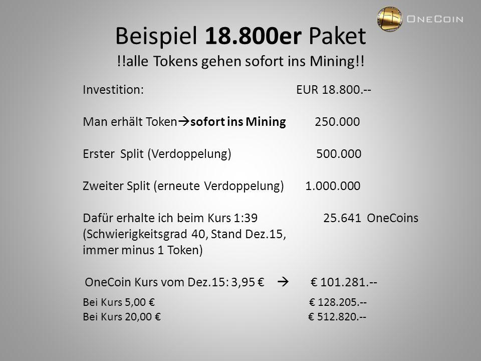 Unternehmerische Ziele von OneCoin Start Jan 2015: € 0,50 Okt 2015: € 2,45 Dez 2015: € 3,00 - € 5,00 Dez 2016: € 20,00 - € 30,00 Dez 2017: € 70,00 - € 100,00 Dez 2018: € 250,00 - € 300,00 Dieser enorme Wachstum entsteht durch Nachfrage und diese ist deshalb gegeben, da OneCoin diesen fantastischen Vertriebsweg Network Marketing gewählt hat, bei dem 85% des Umsatzes auf die Mitglieder ausbezahlt wird.