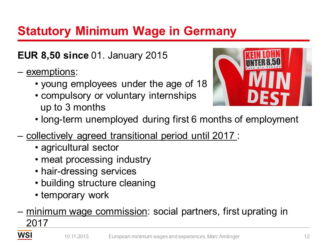 Statutory Minimum Wage in Germany EUR 8,50 since 01.