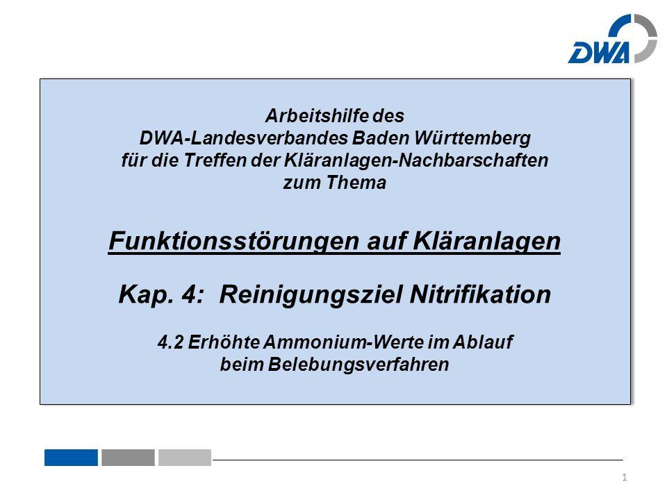 Arbeitshilfe des DWA-Landesverbandes Baden Württemberg für die Treffen der Kläranlagen-Nachbarschaften zum Thema Funktionsstörungen auf Kläranlagen Kap.