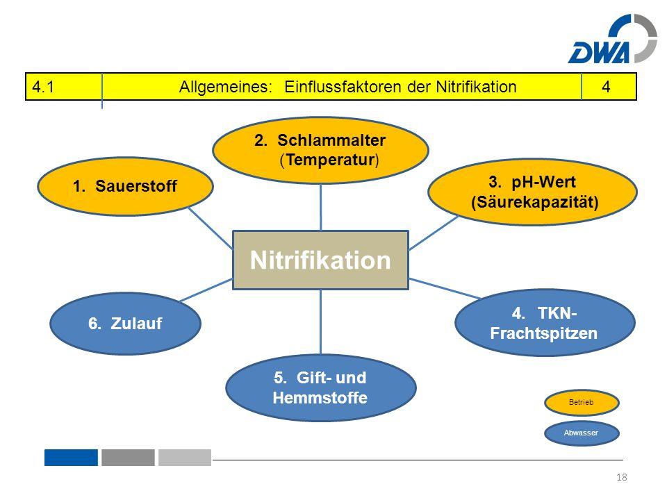 Nitrifikation 1. Sauerstoff 2. Schlammalter (Temperatur ) 5.