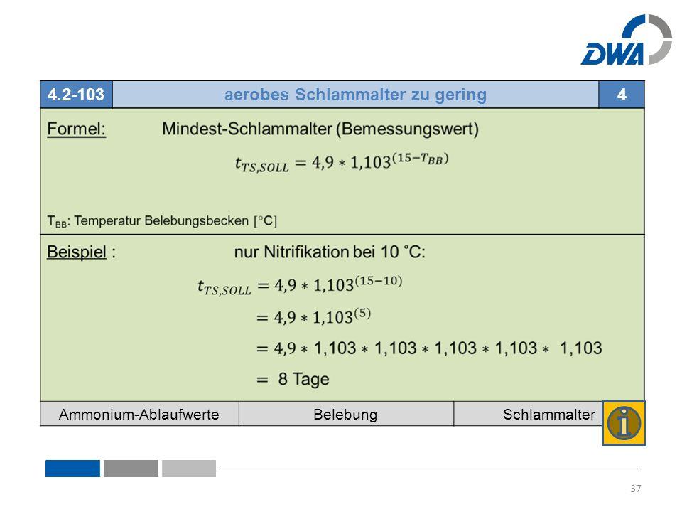 4.2-103aerobes Schlammalter zu gering4 Ammonium-AblaufwerteBelebungSchlammalter 37