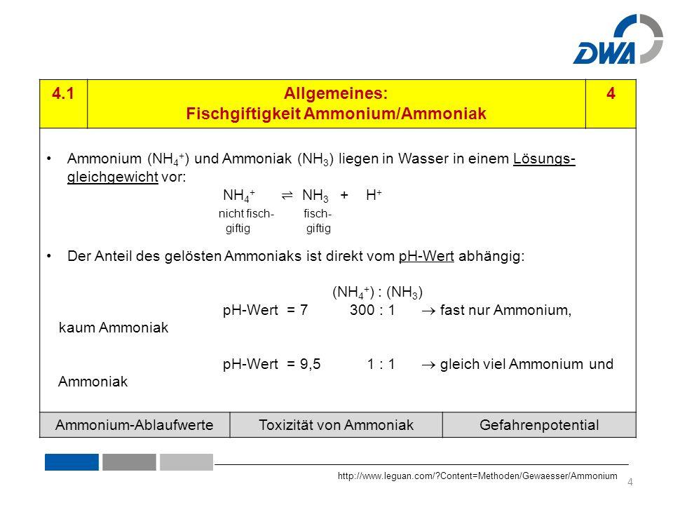 4.1Allgemeines: Fischgiftigkeit Ammonium/Ammoniak 4 Ammonium (NH 4 + ) und Ammoniak (NH 3 ) liegen in Wasser in einem Lösungs- gleichgewicht vor: NH 4 + ⇌ NH 3 + H + nicht fisch- fisch- giftig giftig Der Anteil des gelösten Ammoniaks ist direkt vom pH-Wert abhängig: (NH 4 + ) : (NH 3 ) pH-Wert = 7 300 : 1  fast nur Ammonium, kaum Ammoniak pH-Wert = 9,5 1 : 1  gleich viel Ammonium und Ammoniak Ammonium-AblaufwerteToxizität von AmmoniakGefahrenpotential http://www.leguan.com/ Content=Methoden/Gewaesser/Ammonium 4
