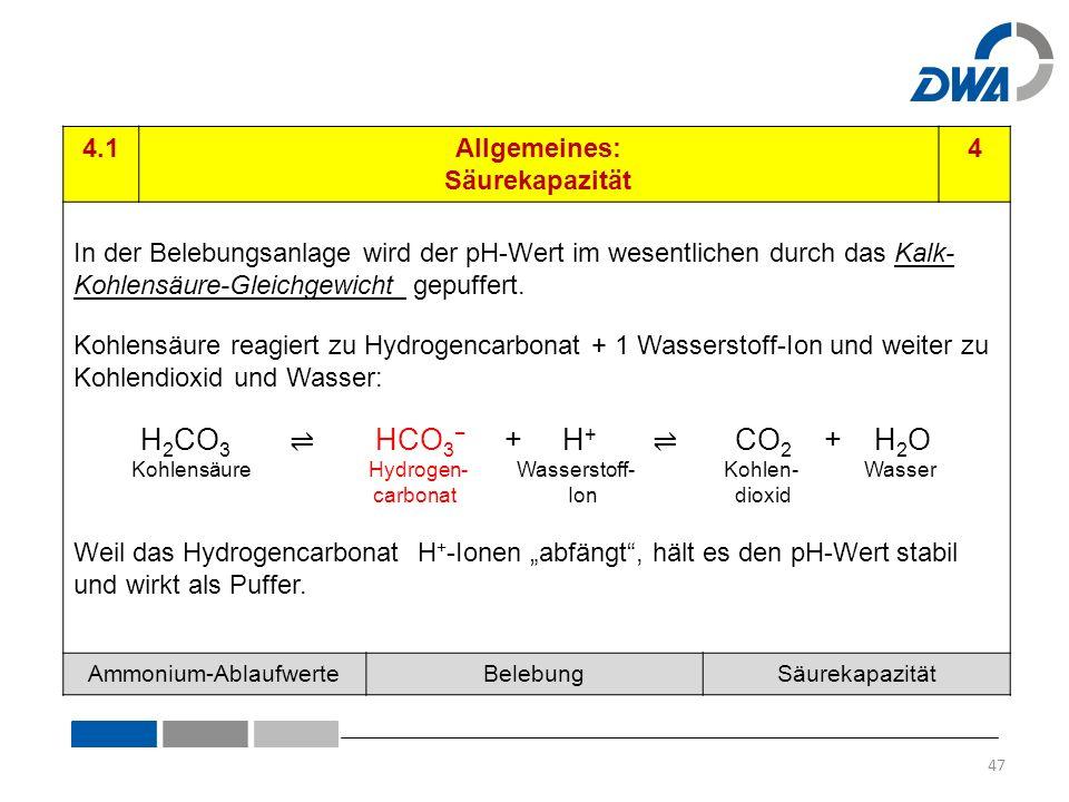 4.1Allgemeines: Säurekapazität 4 In der Belebungsanlage wird der pH-Wert im wesentlichen durch das Kalk- Kohlensäure-Gleichgewicht gepuffert.