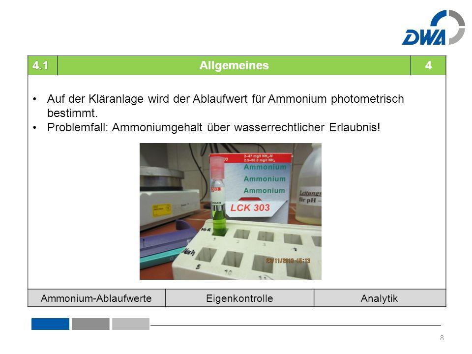 4.1Allgemeines4 Auf der Kläranlage wird der Ablaufwert für Ammonium photometrisch bestimmt.