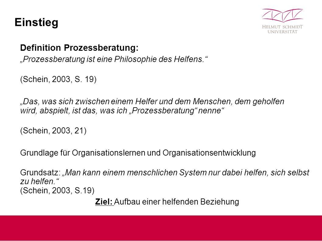 """Einstieg Definition Prozessberatung: """"Prozessberatung ist eine Philosophie des Helfens. (Schein, 2003, S."""