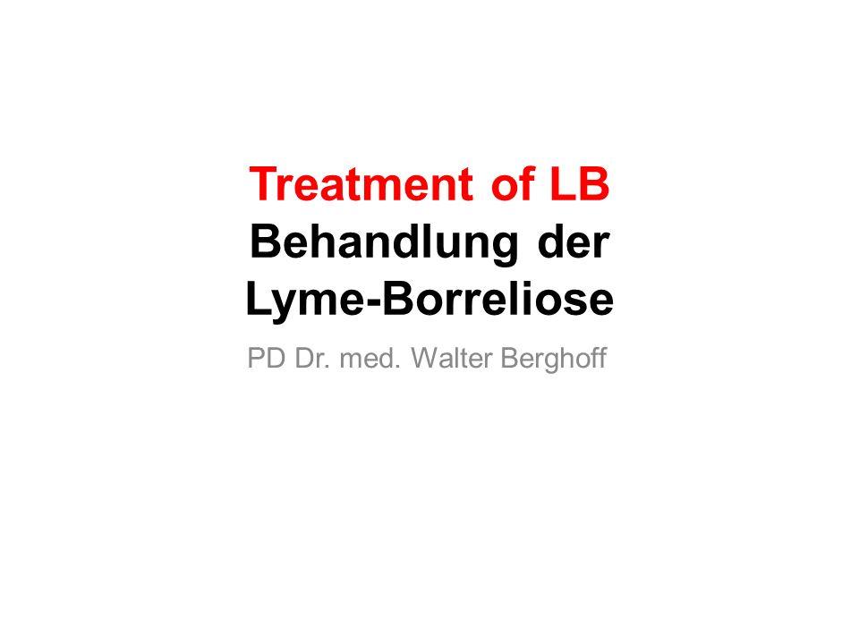 Success of antibiotic treatment in LB I and LB III Behandlungserfolg der Antibiose bei LB abhängig von Infektionsdauer Erfolgsquote -Frühstadium (ersten 4 Wochen)90% -Spätstadium (Infektion > 4 Wochen) Monotherapie50% Folgerung: LB möglichst früh behandelnantibiotic treatmant as soon as possible Synchron-kombinierte Antibiosecombined antibiotictreatment Erkenntnis: Je länger Krankheitsdauer umso schwieriger Behandlung der LB long lasting disease makes antibiotic treatment progressively difficult Seite 31