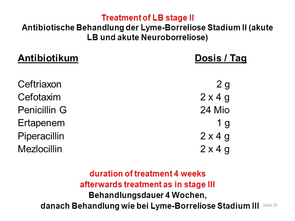 Seite 26 Treatment of LB stage II Antibiotische Behandlung der Lyme-Borreliose Stadium II (akute LB und akute Neuroborreliose) AntibiotikumDosis / Tag Ceftriaxon 2 g Cefotaxim 2 x 4 g Penicillin G 24 Mio Ertapenem 1 g Piperacillin 2 x 4 g Mezlocillin 2 x 4 g duration of treatment 4 weeks afterwards treatment as in stage III Behandlungsdauer 4 Wochen, danach Behandlung wie bei Lyme-Borreliose Stadium III