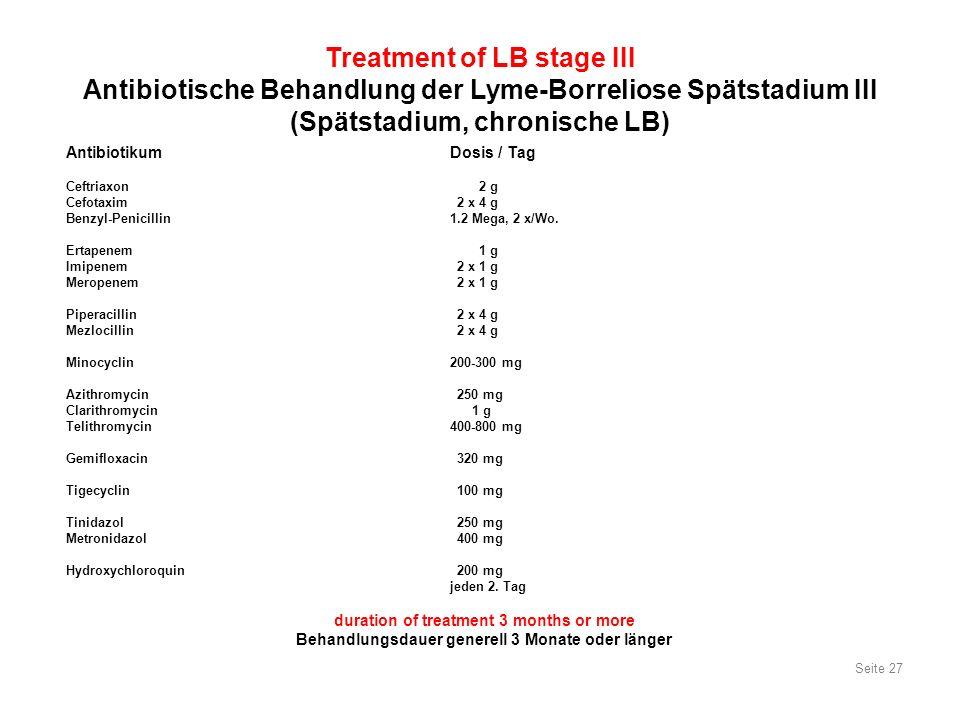 Seite 27 Treatment of LB stage III Antibiotische Behandlung der Lyme-Borreliose Spätstadium III (Spätstadium, chronische LB) Antibiotikum Dosis / Tag