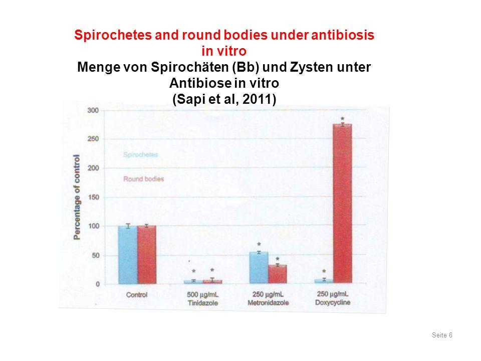 Seite 27 Treatment of LB stage III Antibiotische Behandlung der Lyme-Borreliose Spätstadium III (Spätstadium, chronische LB) Antibiotikum Dosis / Tag Ceftriaxon 2 g Cefotaxim 2 x 4 g Benzyl-Penicillin1.2 Mega, 2 x/Wo.