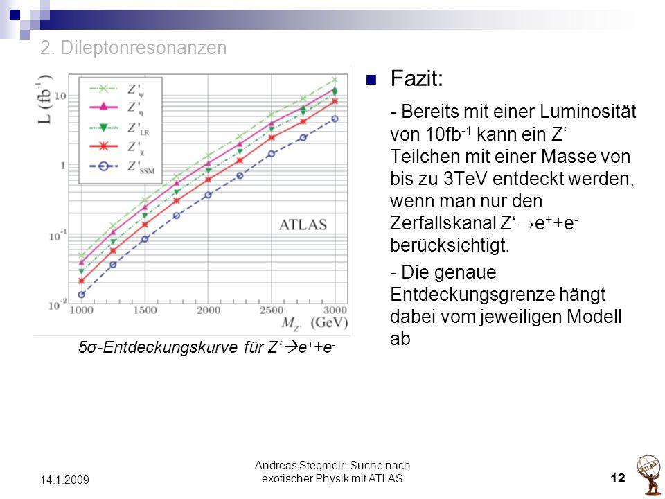 2. Dileptonresonanzen Fazit: - Bereits mit einer Luminosität von 10fb -1 kann ein Z' Teilchen mit einer Masse von bis zu 3TeV entdeckt werden, wenn ma