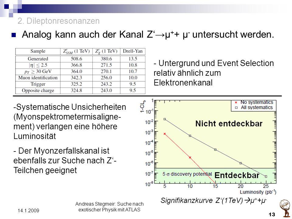 2. Dileptonresonanzen Analog kann auch der Kanal Z'→μ + + μ - untersucht werden. Andreas Stegmeir: Suche nach exotischer Physik mit ATLAS 13 14.1.2009