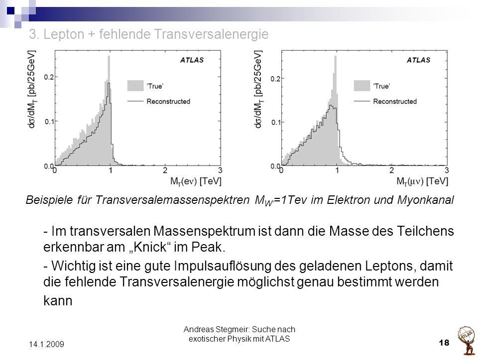 3. Lepton + fehlende Transversalenergie Beispiele für Transversalemassenspektren M W' =1Tev im Elektron und Myonkanal - Im transversalen Massenspektru