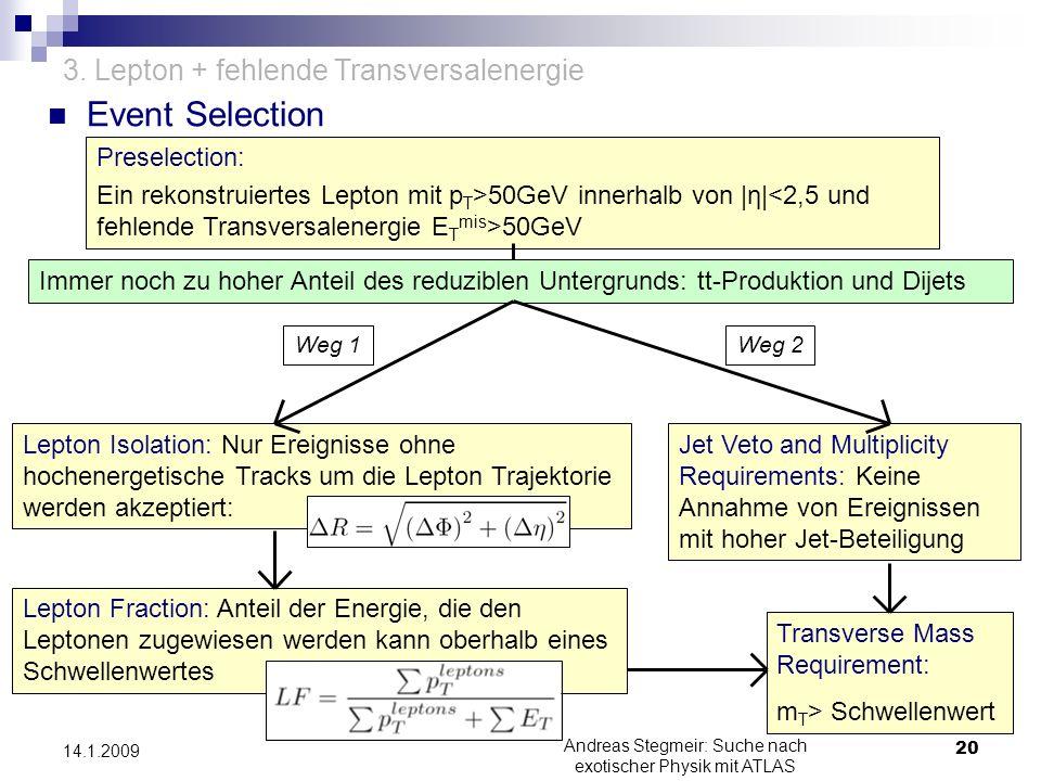 Event Selection Andreas Stegmeir: Suche nach exotischer Physik mit ATLAS 20 14.1.2009 3. Lepton + fehlende Transversalenergie Preselection: Ein rekons