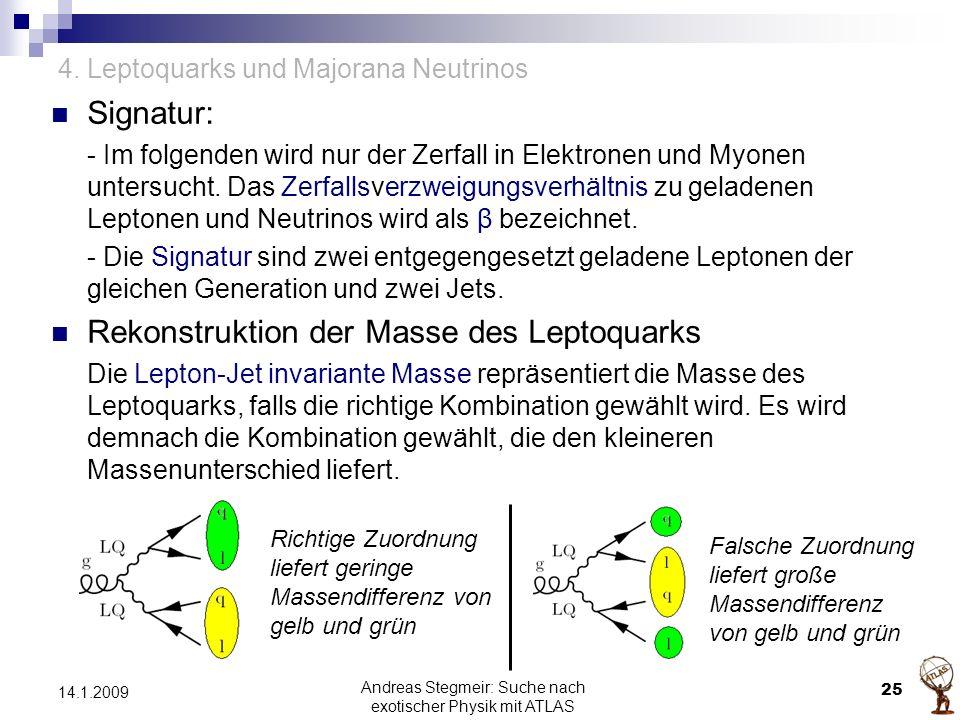 4. Leptoquarks und Majorana Neutrinos Signatur: - Im folgenden wird nur der Zerfall in Elektronen und Myonen untersucht. Das Zerfallsverzweigungsverhä