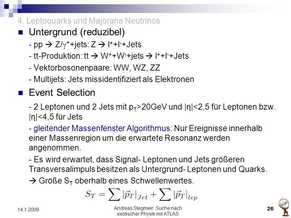 4. Leptoquarks und Majorana Neutrinos Untergrund (reduzibel) - pp  Z/ γ *+jets: Z  l + +l - +Jets - tt-Produktion: tt  W + +W - +jets  l + +l - +J