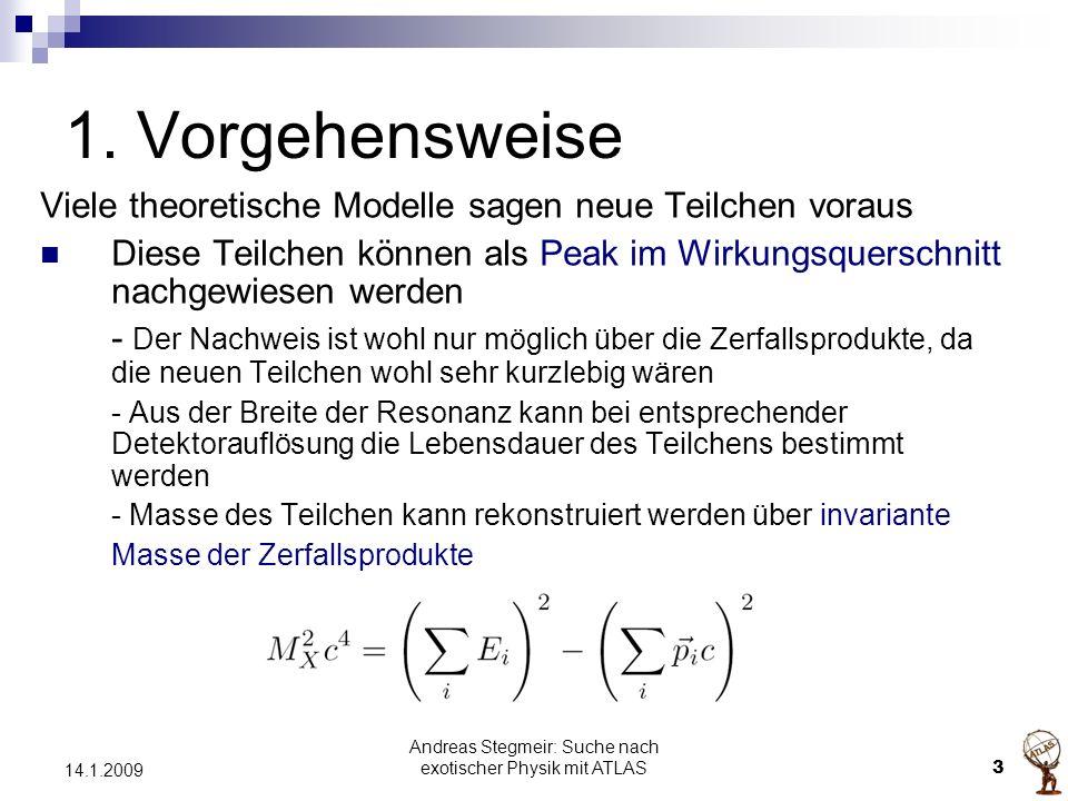 Andreas Stegmeir: Suche nach exotischer Physik mit ATLAS 3 14.1.2009 1. Vorgehensweise Viele theoretische Modelle sagen neue Teilchen voraus Diese Tei