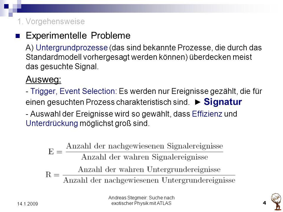 Andreas Stegmeir: Suche nach exotischer Physik mit ATLAS 4 14.1.2009 1. Vorgehensweise Experimentelle Probleme A) Untergrundprozesse (das sind bekannt