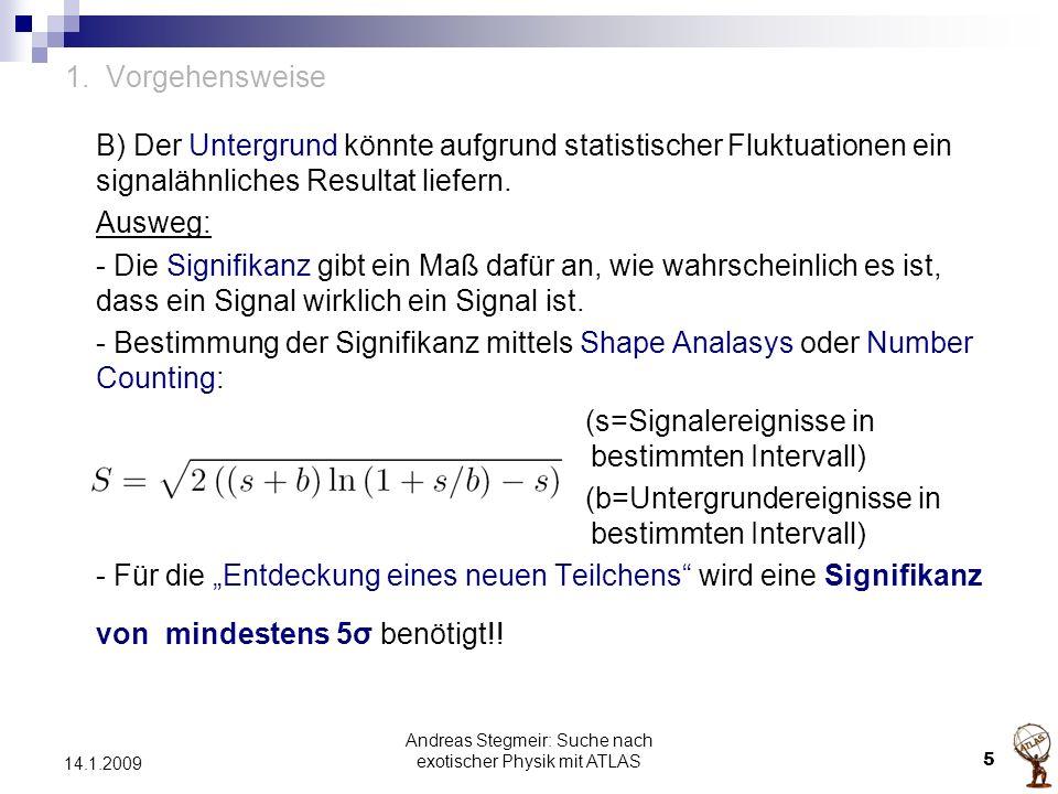 Andreas Stegmeir: Suche nach exotischer Physik mit ATLAS 5 14.1.2009 1. Vorgehensweise B) Der Untergrund könnte aufgrund statistischer Fluktuationen e