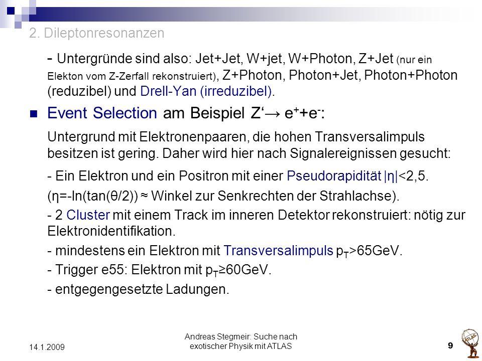 2. Dileptonresonanzen - Untergründe sind also: Jet+Jet, W+jet, W+Photon, Z+Jet (nur ein Elekton vom Z-Zerfall rekonstruiert), Z+Photon, Photon+Jet, Ph
