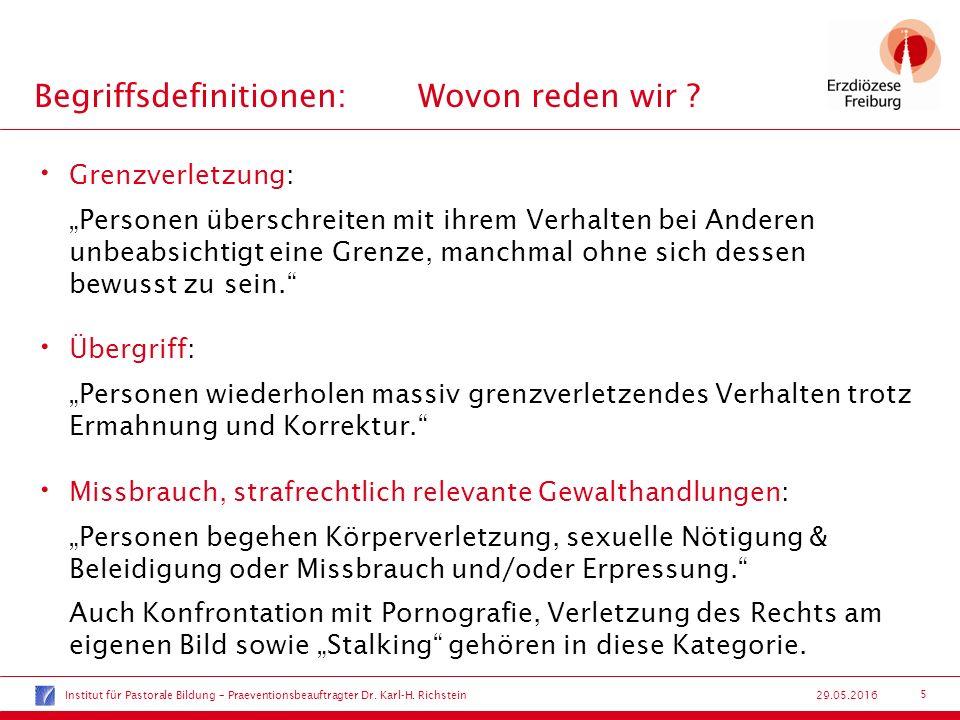 26 29.05.2016 Praeventionsbeauftragter Koordinierungsstelle Praevention von sexuellem Missbrauch Dr.